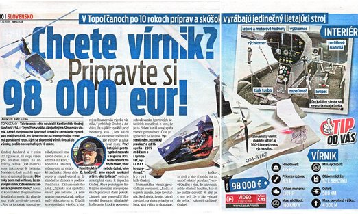 After 10 years of preparation and testing in Topoľčany, they produce a unique flying machine GYROCOPTER